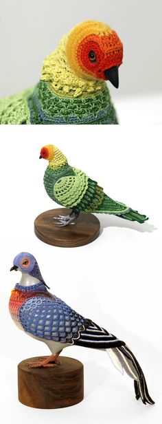 Biodiversity Reclamation Suits: Extinct Bird Costumes for Urban Pigeons Crocheted by Laurel Roth Hope