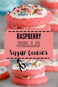Just seven simple ingredients is all that stands between you and these Raspberry Jello Sugar Cookies. The easiest cookie recipe, ever! #sugarcookies #jellocookies Jello Cookies, Easy Sugar Cookies, Drop Cookies, Sugar Cookies Recipe, Christmas Desserts, Fun Desserts, Dessert Recipes, Party Recipes, Jello Flavors
