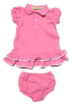 Ralph Lauren Infant Bricabrac Trim Dress Set 18 Months Pink  Lime Green Pony