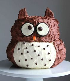 Owl Cake- so cute, and not that difficult to make.  Bake in stainless steel bowls.  Wish I had some!