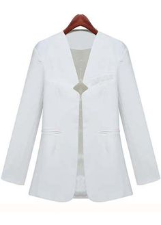 Fine Quality Long Sleeve Solid White Blazer for Woman