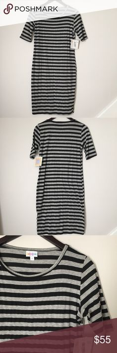 LulaRoe Black & Gray Striped Julia Dress - Medium Brand new with tags!!! LulaRoe Julia dress! Black and Gray stripes. Great classic piece and is a closet staple! Size medium. Unicorn. Great condition- never worn. NO TRADES. LuLaRoe Dresses