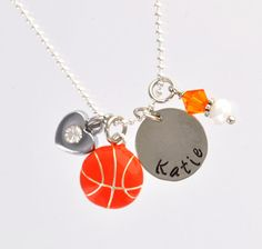 BASKETBALL Personalized Hand Stamped Charm Neklace by CatalinasTreasures, $20.00  sports jewelry  orange ball  heart, rhinestones, crystals