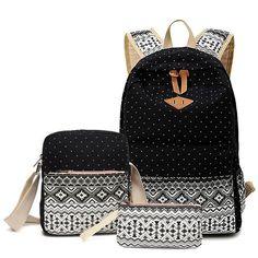 Sunborls Three Sets Backpack Canvas Fashion Brand Backpacks School Students Travel Bag Women Female Girls Teenage Wholesale Bags