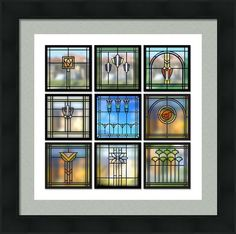 9 Bungalow Windows Framed Print By Geoff Strehlow Stained Glass Designs, Stained Glass Projects, Stained Glass Patterns, Stained Glass Art, Stained Glass Windows, Mosaic Glass, Craftsman Stained Glass Panels, Stained Glass Cabinets, Interior Art Nouveau