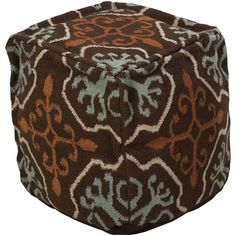 Chocolate and Moss Frontier Pouf by Surya - Seven Colonial
