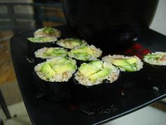 Vegan Sushi!  * 1 cup(s) of dry short-grain brown rice      * 1 tsp. of agave syrup      * 1/8 tsp. of sea salt      * 1 avocado, peeled and pitted      * 2 baby cucumers, julienne sliced      * 2 tbsp. of Earth Balance peanut butter OR almond butter       * 2 tbsp. of umeboshi plum paste      * 1 tbsp. of sesame seeds (optional, for garnish)      * 10 sheets of Nori seaweed      * 1 sushi bamboo rollers (optional)     1. Cook brown rice according to package instructions. Once cooked...