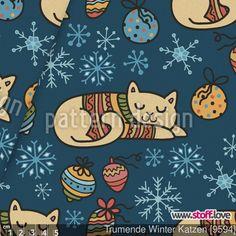 Träumende Winter Katzen  von Julia Smirnova - Traumstoff von www.stoff.love
