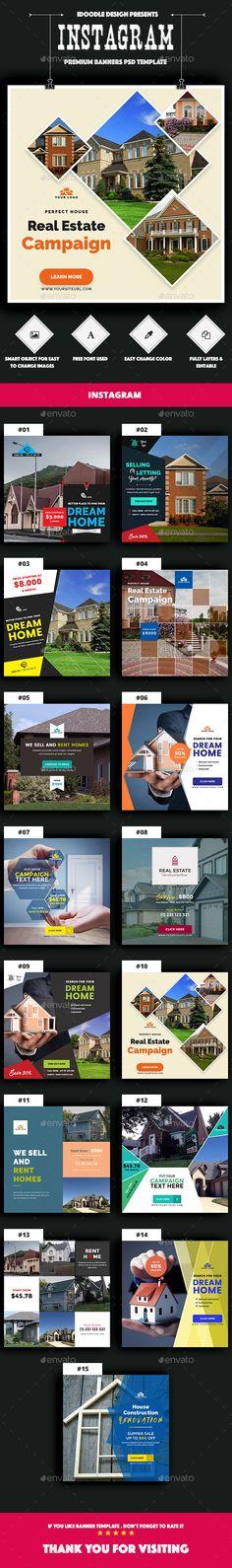 Real Estate Instagram Banners Ads - 15 PSD - Social Media Web Elements
