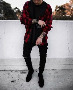 Best Casual Street Style Outfits for Men ~ Magazzine Fashion Stylish Mens Outfits, Casual Outfits, Men Casual, Casual Styles, Grunge Outfits, Fall Outfits, Urban Style Outfits, Mode Streetwear, Streetwear Fashion
