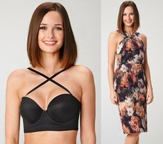 criss cross bra for dresses with crisscross necklines, how to hide bra straps with racerback tanks Bh Hacks, Fashion Mode, Fashion Outfits, Hide Bra Straps, Different Types Of Dresses, Off Shoulder Dresses, Low Back Dresses, Backless Bra, Clothing Hacks
