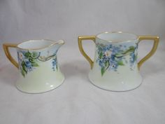 Vintage Hand Painted Artist Signed Dooley Bavaria Imperial Austria Creamer and Sugar Set- Outstanding