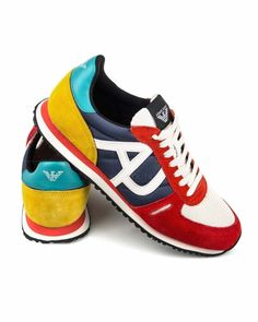 Zapatillas Armani Jeans - Multicolor Jeans And Sneakers, White Sneakers, Shoes Sneakers, Jeans Armani, Snicker Shoes, Jeans Outlet, Trendy Shoes, Stylish Men, New Shoes