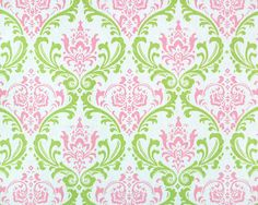 pink and green | Pink & Green Madison Damask