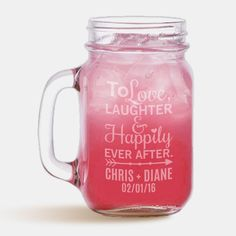 """DescriptionSip your favorite drink from charming Personalized Classic Jar Glass, a perfect gift for anyone who loves that country look. Both attractive and sturdy, this personalized mason jar is ideal for any beverage and the personalization makes it a great wedding, shower or housewarming present. Mug holds 16 ounces and glass measures 5 1/4"""" x 2 1/2"""". Made of clear glass. Personalize this mug with your custom message up to three lines (12 characters in length each line) PLEASE NOTE: LIDS ARE S 16 Oz Mason Jars, Mason Jar Glasses, Personalized Mason Jars, Healthy Living Magazine, Dinners For Kids, Shop Plans, Glass Jars, Clear Glass, Happily Ever After"""