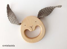 Wooden Teething Baby Toy  Wooden Teether  Organic by mielasiela