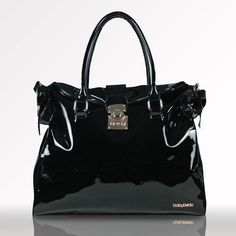 Black patent leather diaper bag? Yes, please!