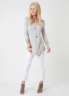 Cold shoulders are very in... Easy neutral colors.