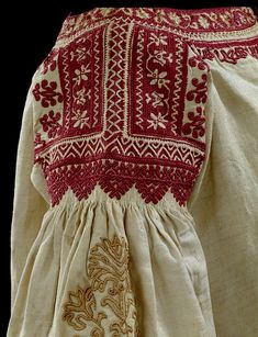 Linen & Silk Embroidered Blouse Sleeve: Origin: Spain - Andalusia: Date: Textiles, Folklore, Folk Embroidery, Embroidery Designs, Folk Costume, Red Silk, Ethnic Fashion, Fashion History, Traditional Dresses