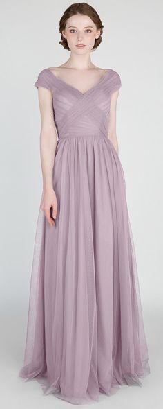Elegant Lavender Off Shoulder Tulle Bridesmaid Dress #bridalparty #bridesmaiddresses #weddingideas