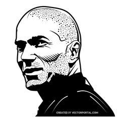 Former soccer player Zinedine Zidane vector image