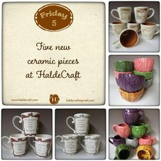Five new ceramic pieces at HaldeCraft; this one is for the mug collectors!