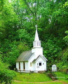 Little, white, country church.