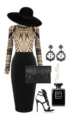 """""""Tribal Truth"""" by terra-glam ❤ liked on Polyvore featuring Whistles, Giuseppe Zanotti, Givenchy, Prada, Maison Michel and Chanel"""
