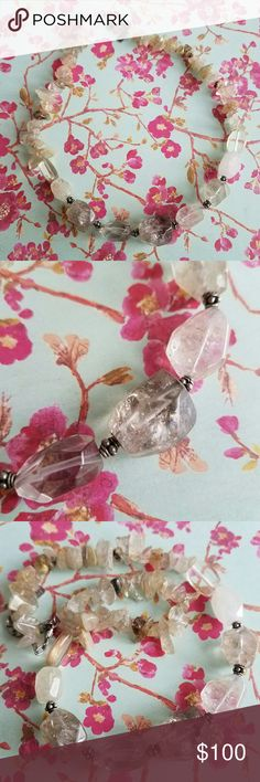 Peyote Bird rutilated quartz necklace chunky This gorgeous necklace by Peyote Bird is made of chunky natural stone beads and sterling silver. The beads are Smoky Quartz, clear Quartz, and Rutilated ( Tourmalinated ) Quartz. Rutilated quartz is so neat- it's clear quartz that has naturally occuring golden rods of Tourmaline crossing through it! This piece is in  super condition with age patina to the silver. It is signed by the artist,  also 925 on the tag and clasp. Smoke free home:)…