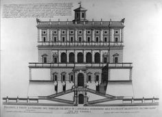 Giovanni Battista Falda, Façade of the noble palace of Caprarola. Classical Architecture, Historical Architecture, Architecture Details, Architecture Sketches, Rendering Drawing, Italian Garden, Big Ben, Facade, Medieval