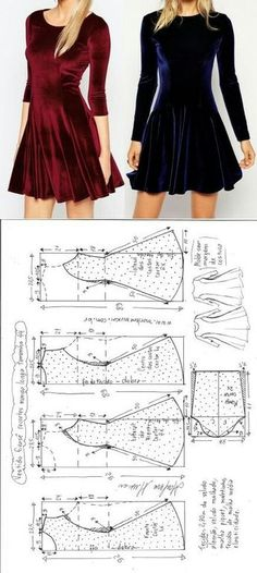 Sewing Patterns Free sewing pattern -Long sleeved dress Kostenloses Schnittmuster - langärmliges Kleid - Visite o post para mais. Sewing Dress, Dress Sewing Patterns, Diy Dress, Sewing Patterns Free, Free Sewing, Sewing Clothes, Clothing Patterns, Free Pattern, Pattern Sewing