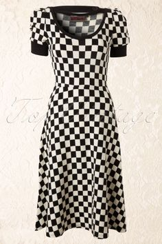 Vixen - 50s Checkered Swing Dress Black and White