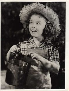 "Rebecca of Sunnybrook Farm - ""an old straw hat, a suit of overalls, and a worn out pair of  shoes"" - Shirley Temple, actress, - original rare press photo"