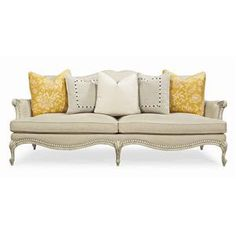 Caracole Upholstery Oui-Oui Stationary Sofa with Intricate Carved Frame by Schnadig - Olinde's Furniture - Sofa Baton Rouge and Lafayette, Louisiana Caracole Furniture, Sofa Furniture, Pallet Furniture, Furniture Design, Furniture Stores, Cream Furniture, Pallet Beds, Pallet Sofa, French Furniture