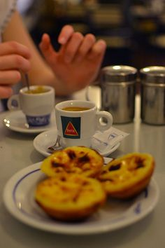 Pasteis de Belem   Portuguese Egg Tart #Portugal . Only here ini Belem the original and the most yummy egg tart :) Portuguese Egg Tart, Portuguese Recipes, Tarts, Portugal, Pastries, Lisbon, Recipes, The Originals, Biscuits