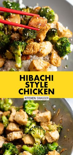 Hibachi chicken is a simple Japanese inspired chicken recipe cooked with soy sauce and butter. It goes exceptionally well with hibachi fried rice, and is as close as you can get to making really good hibachi food at home! Hibachi Recipes, Grilling Recipes, Beef Recipes, Chicken Recipes, Cooking Recipes, Healthy Recipes, Cooking 101, Kitchens, Filet Mignon