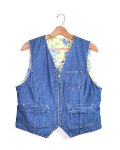 Denim Vest Jean Vest Reversible Vest Floral by founditinatlanta