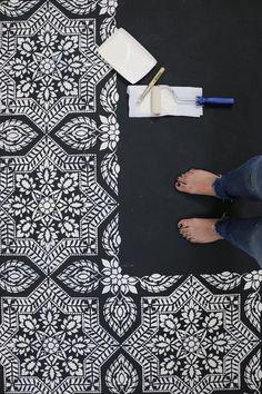 Portuguese tile stencil pattern - Azulejos tile design - Spanish tile stencils - Color Me: Black and White - Stenciled Concrete Floor, Painted Concrete Floors, White Concrete, Painted Cement Floors, Plywood Floors, Concrete Furniture, Concrete Lamp, Kid Furniture, Stained Concrete