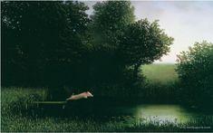 湖面を飛ぶ豚