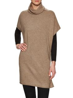 Cashmere Turtleneck Split Tunic Sweater by Eileen Fisher at Gilt