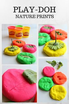 Nature prints – go on a nature hunt and come back and explore it by making prints on the Play-Doh compound. Summer activities for kids! Playdough Activities, Nature Activities, Autumn Activities, Summer Activities, Toddler Activities, Childcare Activities, Montessori Education, Toddler Learning, Stem Activities