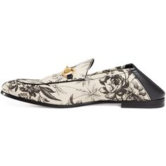 Gucci Herbarium-Print Leather Fold-Down Loafer (1.700 BRL) ❤ liked on Polyvore featuring men's fashion, men's shoes, men's loafers, mens black shoes, mens black leather shoes, mens black loafers shoes, mens leather sole shoes and mens leather loafer shoes