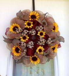 "22"" Sunflower Summer Deco Mesh Wreath"