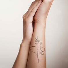 dancer outline tattoo on hand