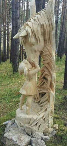 Art of Wood Carving: Late Gothic Wood Sculpture by Famous German Carvers, . Methods and designs of wood carving consist of chip carving, relief scul. Wood Carving Designs, Wood Carving Art, Wood Art, Wood Carvings, Driftwood Sculpture, Horse Sculpture, Chainsaw Wood Carving, Tree Carving, Chip Carving