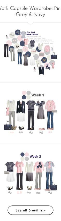 """Work Capsule Wardrobe: Pink, Grey & Navy"" by kristin727 ❤ liked on Polyvore featuring STELLA McCARTNEY, J.Crew, Naturalizer, Nine West, Paige Denim, Henri Bendel, MINKPINK, Michael Kors, Merona and Bloch"