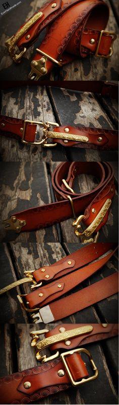 handmade-adjustable-cavalry-gift-leather-tooled-men-brown-black-belt