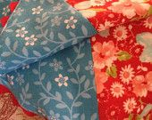 Ruby Collection: Flannel reversible floral patchwork, ric-rac edged baby blanket