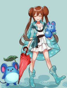 Pokémon Black And White 2. Girl trainer, Marill, and Azumarill on a rainy day