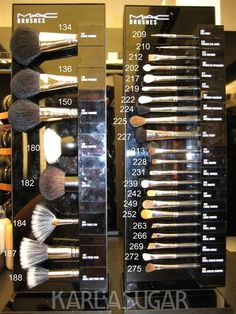 MAC makeup brush guide with prices! The 188 is my FAVE foundation brush.buff in foundation for an airbrushed look!- if I need I buy Mac brushes Beauty Make-up, Beauty Secrets, Beauty Hacks, Beauty Tips, Hair Beauty, Kiss Makeup, Love Makeup, Hair Makeup, Candy Makeup